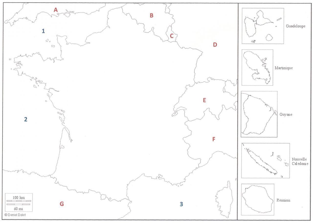 Sur cette carte de France, où est située la mer Méditerranée ? (cliquez sur la carte pour l'agrandir)