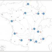 Sur cette carte de France, quelle ville (agglomération ou aire urbaine) correspond au numéro 1 ? (cliquez sur la carte pour l'agrandir)