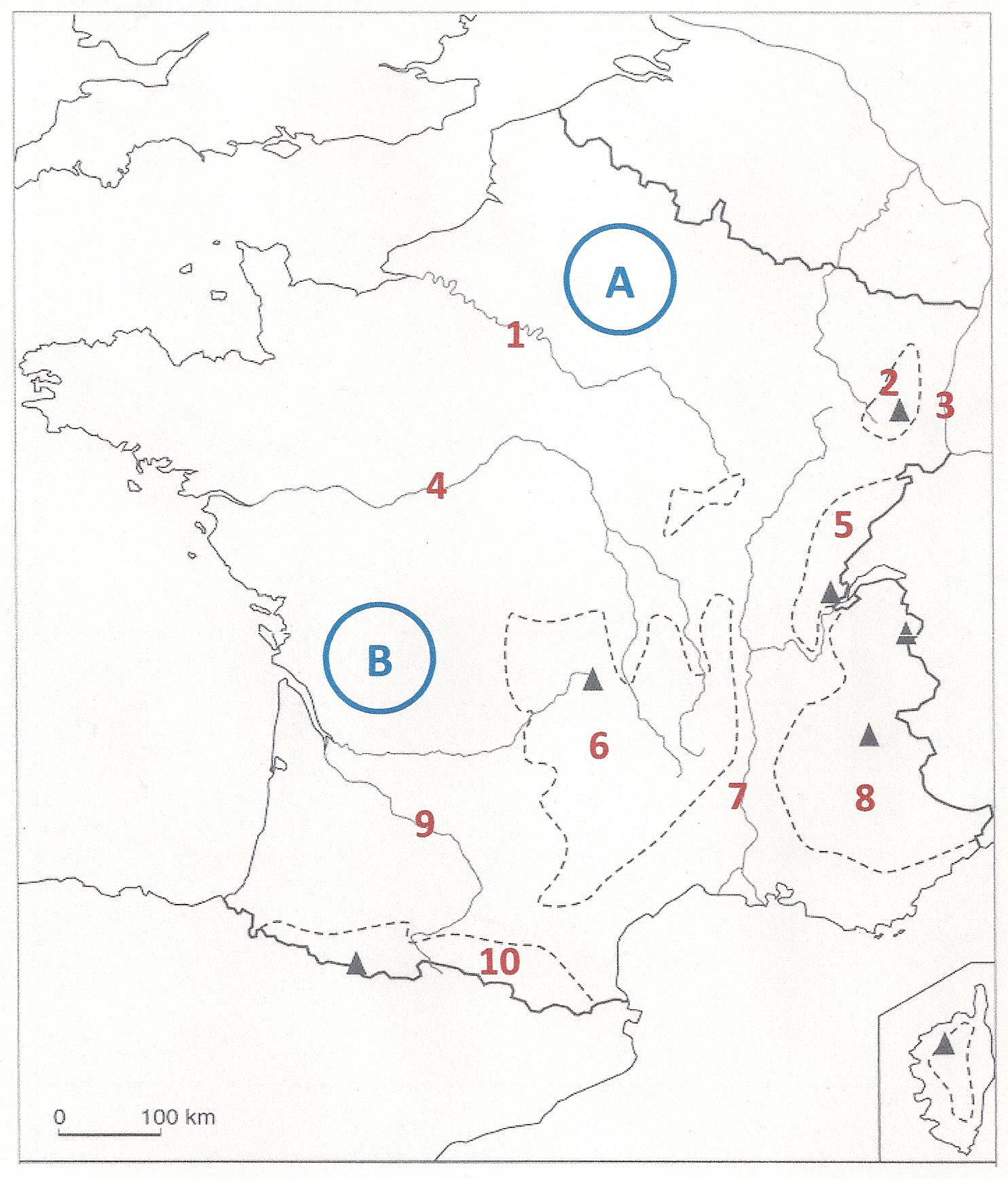 Sur cette carte de France, où est située la Garonne ? (cliquez sur la carte pour l'agrandir)