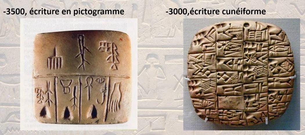 Quelles différences peut-on observer entre les pictogrammes et les signes cunéiformes ?