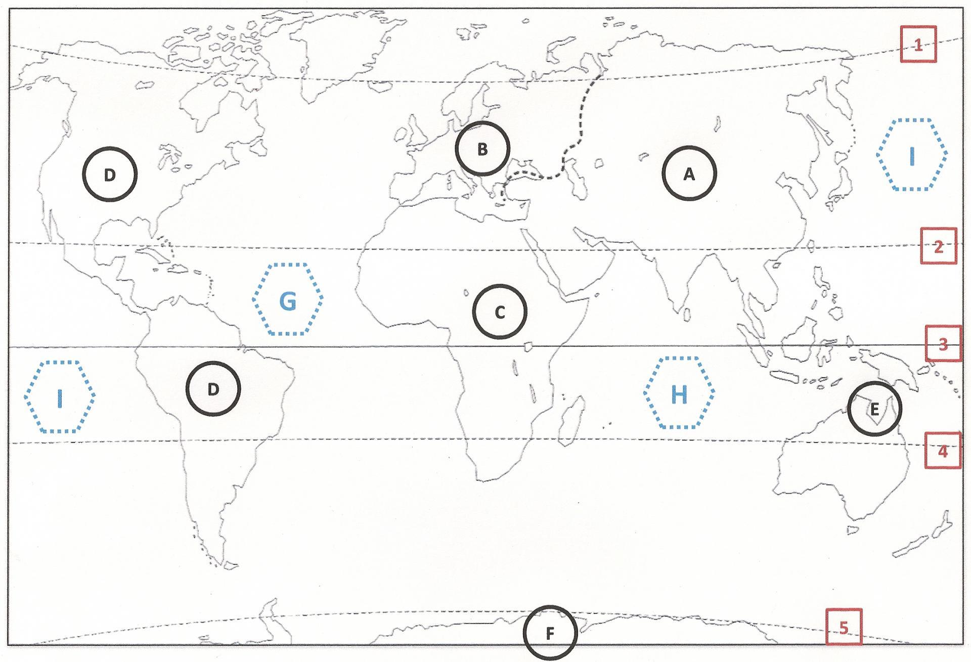Sur ce planisphère, quelle ligne imaginaire correspond à l'Equateur ? (cliquez sur la carte pour l'agrandir)