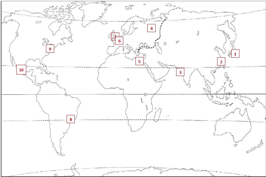 Sur ce planisphère (cliquez sur l'image pour l'agrandir), où est située la ville de Tokyo ?