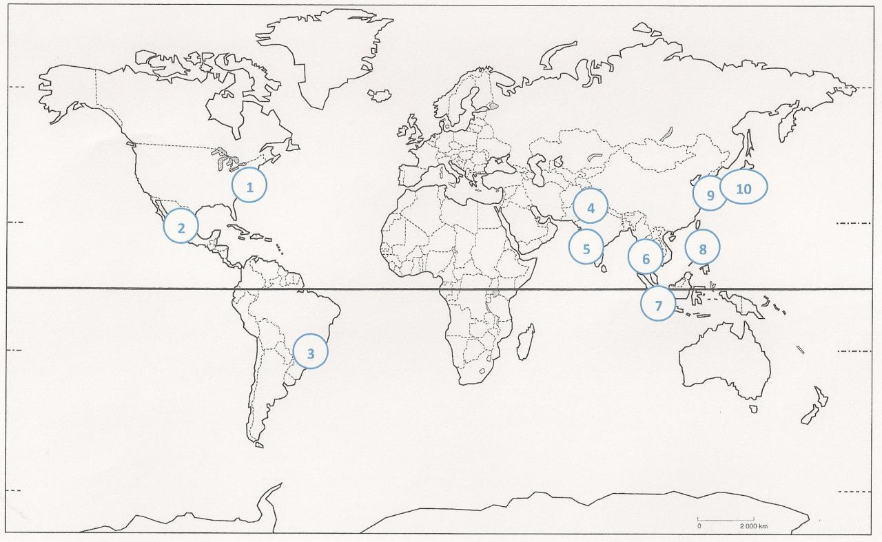 Parmi les plus grandes métropoles du monde, où est située Tokyo (vous pouvez cliquer sur le planisphère pour l'agrandir) ?