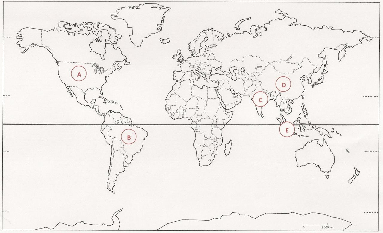 Parmi les pays les plus peuplés du monde, où est située la Chine (vous pouvez cliquer sur le planisphère pour l'agrandir) ?